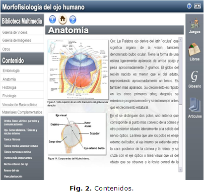 Software educativo: morfofisiología del ojo humano